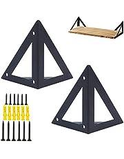 Ijzeren plankdragers, 2 stuks, multifunctionele plankhouder, rechthoekige houder, sterke beugels, geometrisch design, metalen plankhouder, zwart met schroeven