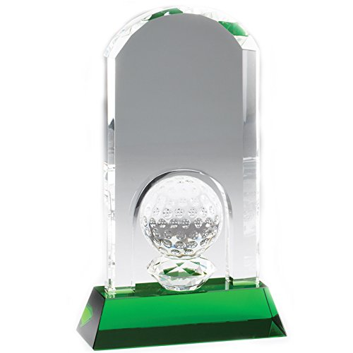 Crystal Golf Tower Award (Customizable 9-1/4 x 6-1/2 Inch Arched Golf Tower with Ball Optical Crystal Award on Green Base, Includes Personalization)