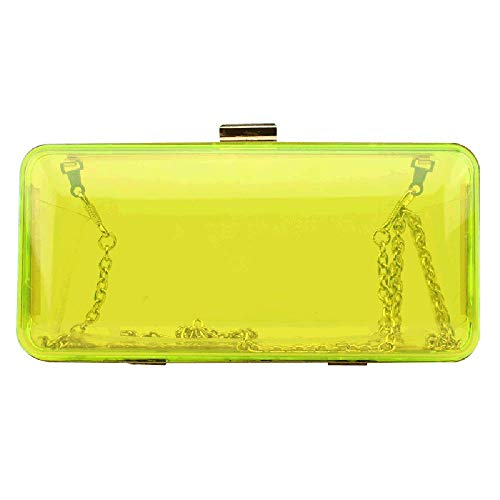 Womens See Through Acrylic Evening Clutch Candy Color Transparent Prom Hardbox Purse(Yellow)