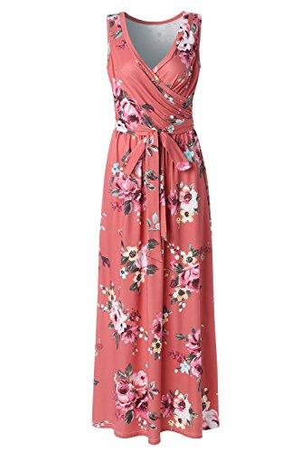 Zattcas Womens Bohemian Printed Wrap Bodice Sleeveless Crossover Maxi Dress,Rust,Small ()