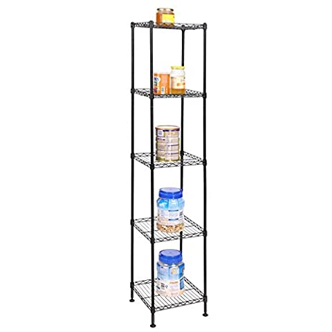 Eshion Bathroom 4 Tier Heavy Duty Multi-Functional Storage Organization Rack Shelving Unit for Kitchen Living Room (US STOCK) (5-Tier - 3 Shelf Stacking Bookcase