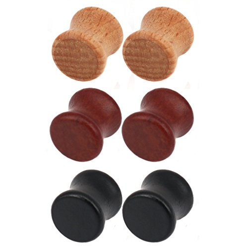 Aprilsky Organic Theaceae Wood Double Flared Saddle Ear Tunnels Plugs Exander Stretcher Piering Jewelry Mixed Color Set