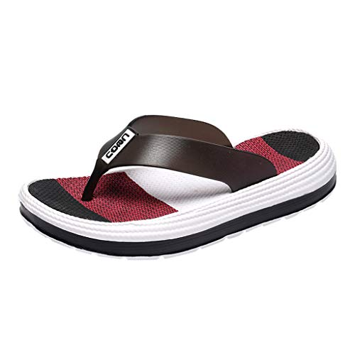 NRUTUP Casual Women Soft Bottom Beach Shoes Flat Clip Toe Rainbow Flip-Flops Slippers (Black,36)