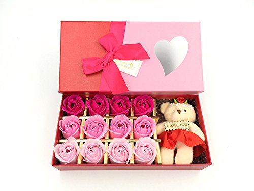 Kinteshun Bath Soap Rose Flower,Flora Scented Rose Petal Bouquet Gift Box I Love You Little Bear Doll(12pcs Rose,Gradually Varied Pink) (Bouquet Rose Box Romantic)