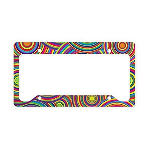 - CafePress - Rainbow Retro Circles Pattern License Plate Holder - Aluminum License Plate Frame, License Tag Holder
