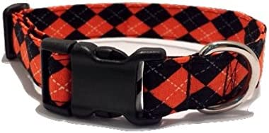 Small Medium Halloween Dog Collar with Flower or Bow Tie Adjustable Sizes XSmall Large XLarge Orange and Black Spiders