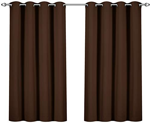 Utopia Bedding Blackout Room Darkening and Thermal Insulating Window Curtains/Panels/Drapes - 2 Panels Set - 8 Grommets per Panel - 2 Tie Backs Included (Chocolate, 52 x 63 Inches with Grommets)