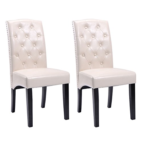 Set of 2 Dining Chairs PU Leather Tufted Armless Accent Home Kitchen Furniture - Dream Quest Twin Sleeper