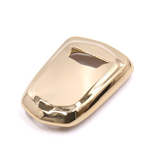 uxcell Gold Tone Plastic Remote Key Case Holder Shell Protect Cover Fit For Cadillac by uxcell