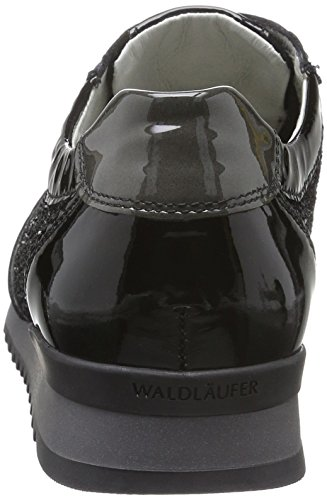 Waldläufer Hurly - Zapatos Mujer Multicolor - Mehrfarbig (Softlack VELOUR Brilloco Schwarz Softlack Asphalt)