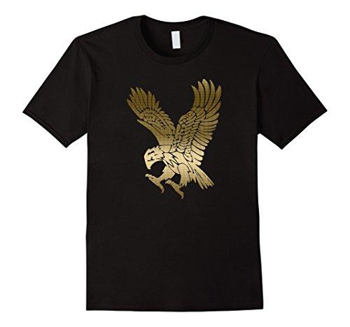 Mens Gold Eagle - T Shirt Large Black (Eagle Large Gold)