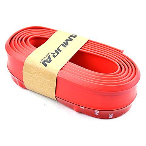ZHOUMOFZ Rubber Car Front Bumper Lip Splitter Protector Body Spoiler Skirt Kit Trim 2.5m 8.2 ft Red Moulding Strip Chin Sticker