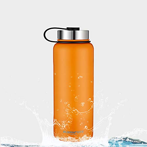KANGFUTE 18/8 Stainless Steel Water Bottle, Wide Mouth Double Walled Vacuum Insulated Thermo Flask, BPA Free with Leak Proof Lid, Keeps Drinks Hot for 24 Hours, Cold for 12 Hours Orange 32oz by KANGFUTE