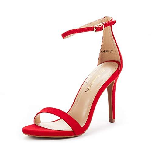 DREAM PAIRS Women's Karrie Red Suede High Stiletto Pump Heel Sandals Size 6.5 B(M) US