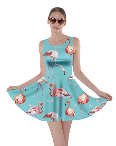 5XL Skater XS Poolside Flamingo Feather Tropical Turquoise Dress Birds Triangle CowCow Beach Summer Womens Partydress Hot TqOSS