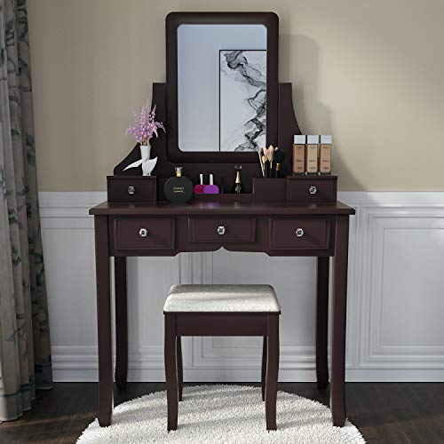 Vanity Sets Makeup - Vanity Set with Mirror,5 Sliding Drawers, Removable Makeup Organizer,Cushioned Stool Dressing Table Vanity Makeup Table Brown