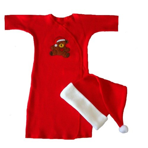 Red Teddy Bear Christmas Gown for Preemie Infants - Christmas Outfits For Premature Babies