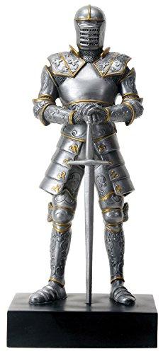 YTC Silver Colored Italian Knight Design Standing Statue in Full Armor