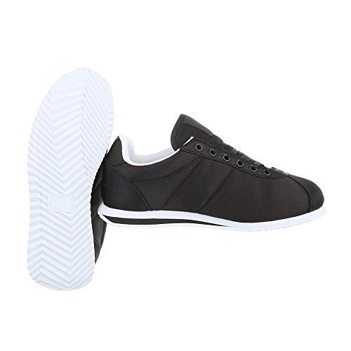 Sneaker Schnürer Turnschuhe Top Schuhe 131 AB Unisex Low Schwarz Schuhe Design Damen Ital Herren 0vwq0E