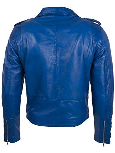 Biker Vera Giacca O In Aviatrix Da n2kg Uomo Cintura Genuino Mucca Pecora Con Di Blu Pelle 5F0wxw