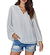 Anloli Women Tops and Blouses V Neck Lace Tops Long Sleeve Elegant Shirts