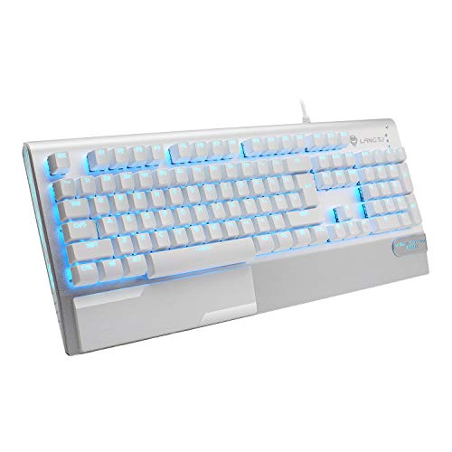 Mechanical Gaming Keyboard, LANGTU All-Metal Panel USB Wired Computer Keyboard with Wrist Rest, LED Backlit Keyboard Blue Switch 104 Keys for Windows PC Gamers - X1000 Silver/White