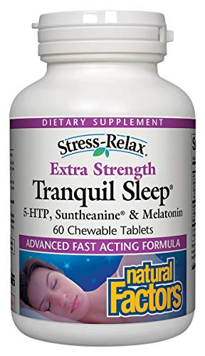 Stress-Relax Tranquil Sleep Extra Strength by Natural Factors, Sleep Aid with Suntheanine L-Theanine, 5-HTP, Melatonin, 60 Tablets (60 Servings) ()