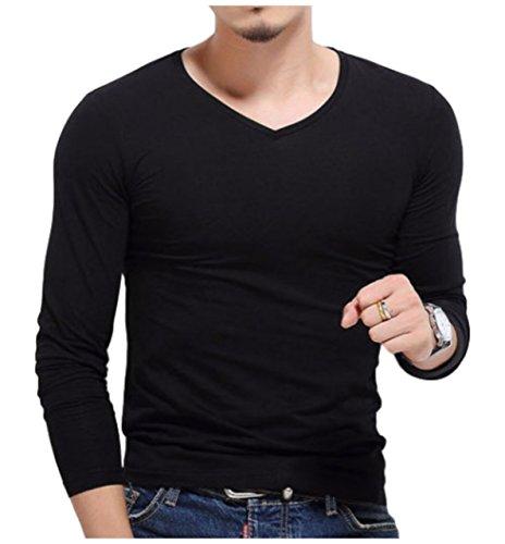 [ワン アンブ] 長袖 ロンT Vネック Tシャツ コスパ インナー ロング M ~ XXL メンズ
