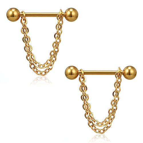 Ruifan Surgical Steel Chain Dangle Nipple Shield Rings Barbell Piercing Jewelry 14G 5/8Inch 2PCS - Gold w ()
