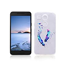 LG Nexus 5X Case TPU Rubber Cover OuDu Silicone Case for LG Nexus 5X Transparent Flexible Slim Case Smooth Lightweight Skin Ultra Thin Shell Anti-Scratch Anti-Shock Creative Design Cover Protective Bumper - Colorful Feather