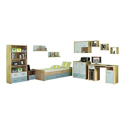 MEBLE FURNITURE & RUGS 11 Pc Kids Bedroom Furniture Set, Twin Platform Storage Bed, Desk, Bookcase, Chest, Nightstand, 6 Shelves, Blue