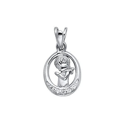 Jewels By Lux 14K White Gold Cubic Zirconia CZ Girl Praying Pendant 15mm X 10mm