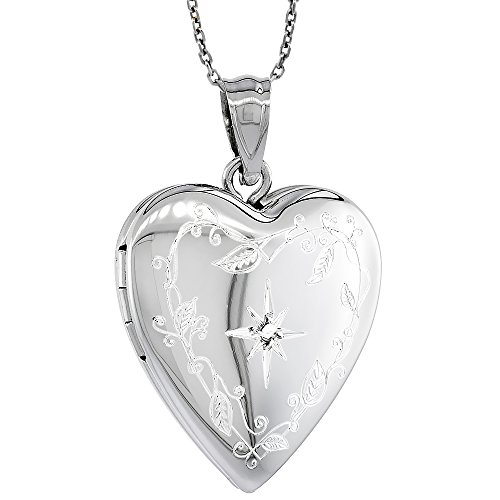Sterling Silver Diamond Necklace Engraved