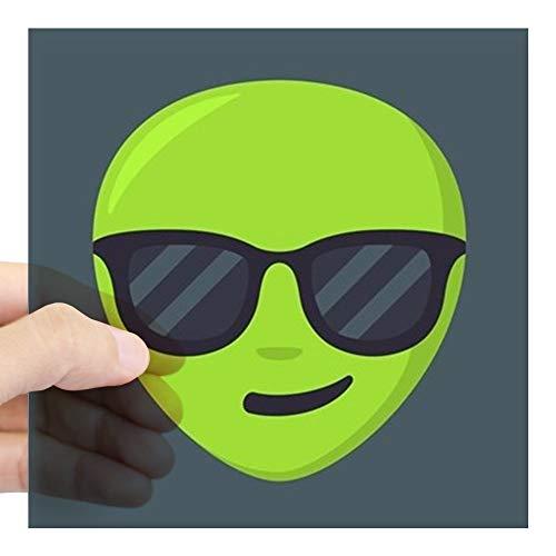 CafePress Alien Sunglasses Emoji Square Sticker 3 X 3 Square Bumper Sticker Car Decal, 3