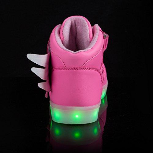 SAGUARO Unisex Niños recargable USB LED Zapatos deportivos intermitentes Moda ala Sneakers Rosa