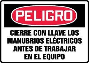 Trabajar Sign - CIERRE CON LLAVE LOS MANUBRIOS ELECTRICOS ANTES DE TRABAJAR EN EL EQUIPO