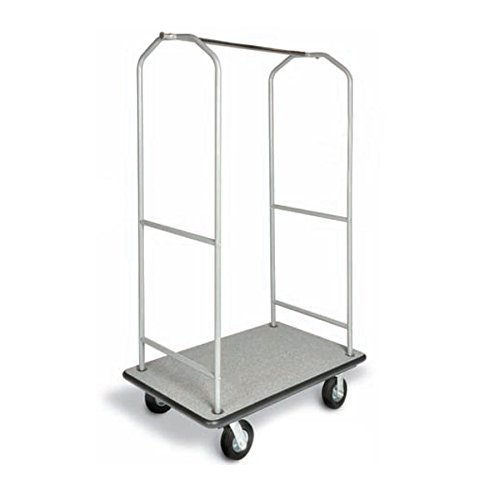 CSL 2005BK-60 Stainless Steel Economy Bellman's Cart with Rectangular Gray Carpet Base, Black Bumper, Clothing Rail, and 6