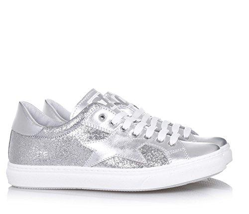 CIAO BIMBI -Silberner Schuh mit Schnürsenkeln, aus Leder und Stoff mit Glitzern, in jedem Detail gepflegt, Mädchen, Damen
