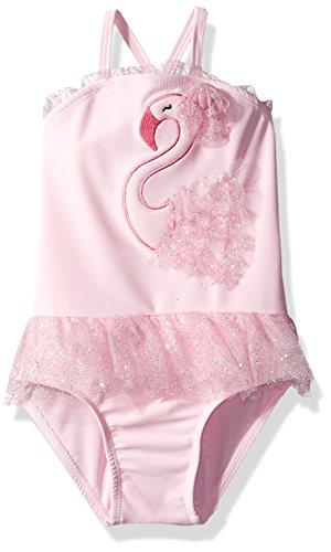 Sol Swim Girls' Solo Swim-Infant-Swan Lake One Piece Swimsuit, Pink, 12 Mos