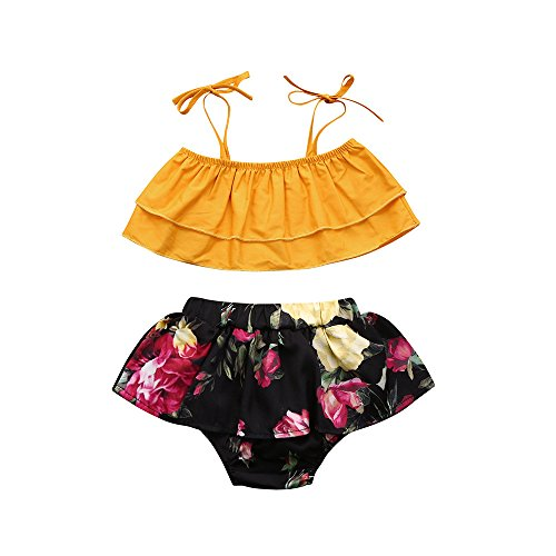 Fenleo Baby Girls Off-Shoulder Strap Top+Floral Bloomer Shorts/Dress Sisters Twins Clothes Set Le Top Bloomers