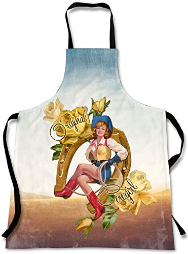 Sweet Gisele Retro Original Cowgirl Cooking Apron | 3D Print Vintage Western Chef Aprons | Great Home Kitchen Souvenir Gift | Travel Accessories Made in USA | 1 Size Womens Bib]()
