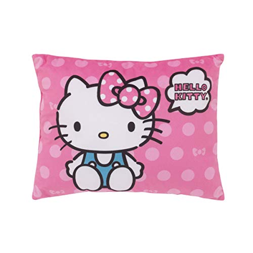 Sanrio Hello Kitty Bright Pink Super Soft Hello Decorative Toddler Pillow, Pink, White, Turquoise, Black