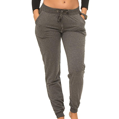 Coco-Limon Jogger Pants For Women, Long French Terry With Rib Trimming & Side Pockets, Charcoal, Medium