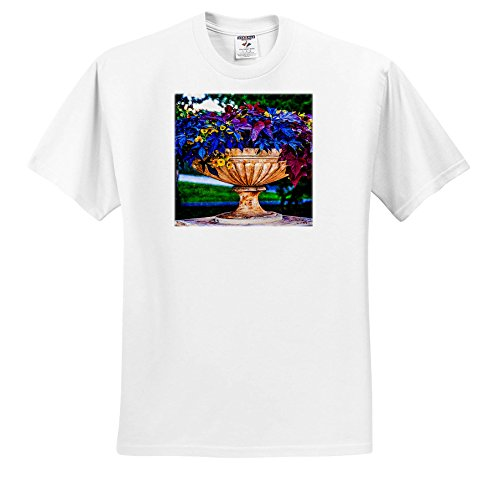 3dRose Alexis Photography - Seasons Summer - colorful Garden urn With Plants and Petunia Flowers - T-Shirts - White Infant Lap-Shoulder Tee (6M) (TS_276059_66)