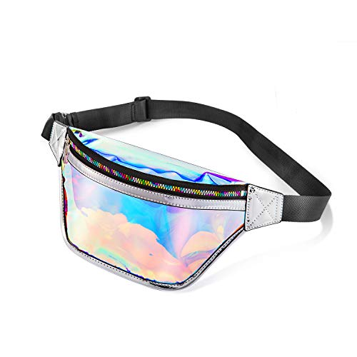 LOVEVOOK Holographic Fanny Pack Stadium Approved Travel Money Belt for Rave, Bar, Beach, Match Iridescent