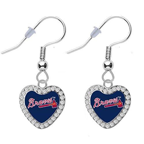 Final Touch Gifts Atlanta Braves Crystal Heart Earrings Pierced ()