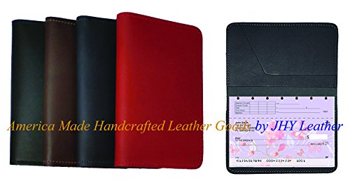 Top Stub Checkbook Cover - New Leather Top Stub Checkbook Cover Wallet for Top Stub Checks - Black