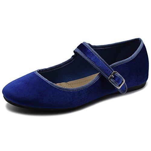 Ollio Women's Shoes Velvet Mary Jane Ballet Flat ZY00F56 (8.5 B(M) US, Royal Blue)