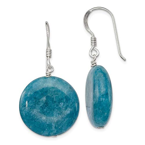 Mia Diamonds 925 Sterling Silver Blue Simulated Agate Earrings (33mm x 20mm)