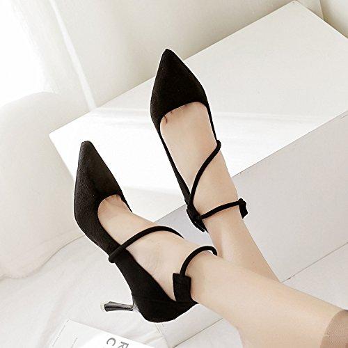 scarpe donne alta alta tacco Presidente di punta tacco Matt 35 porta Anello scarpe scarpe piede nero singole con luce di scarpe fine qUOHw